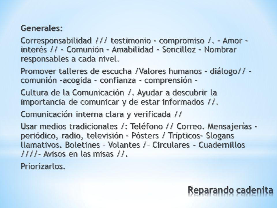 Generales: Corresponsabilidad /// testimonio - compromiso /.