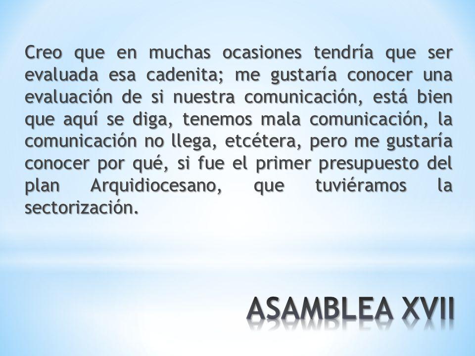 Arquidiócesis: Falta oportunidad en las comunicaciones /////// Falta usar medios /// (ver Propuestas).