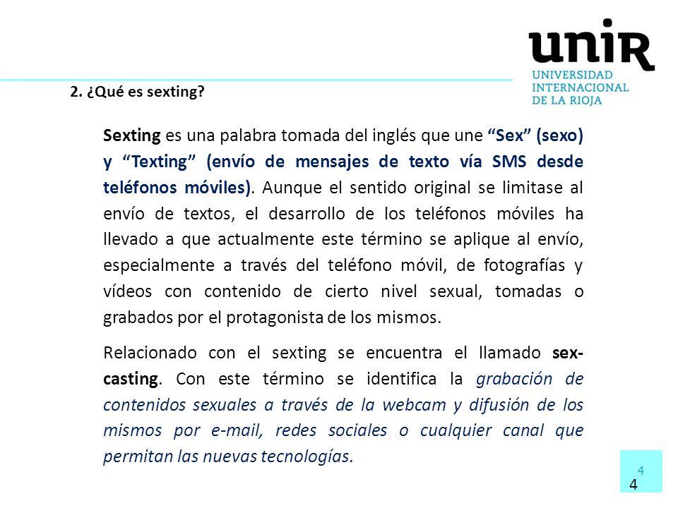 4 4 2. ¿Qué es sexting? Sexting es una palabra tomada del inglés que une Sex (sexo) y Texting (envío de mensajes de texto vía SMS desde teléfonos móvi