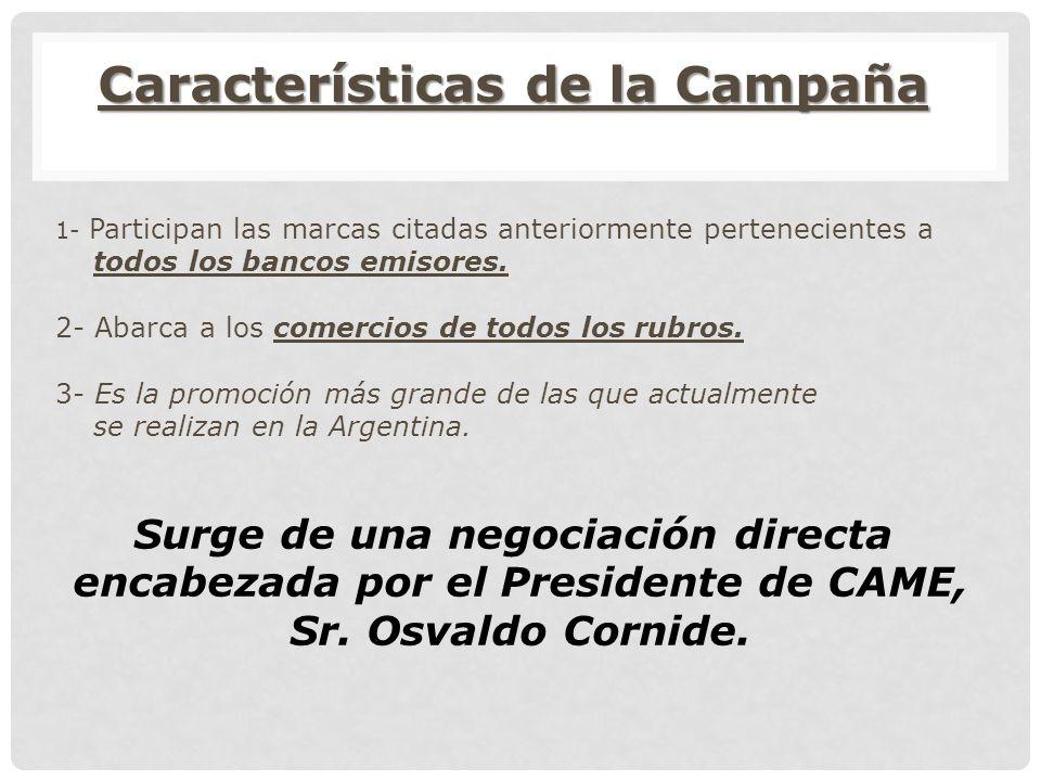 Características de la Campaña 1- Participan las marcas citadas anteriormente pertenecientes a todos los bancos emisores.