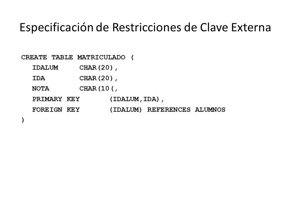 Especificación de Restricciones de Clave Externa CREATE TABLE MATRICULADO ( IDALUMCHAR(20), IDACHAR(20), NOTACHAR(10(, PRIMARY KEY(IDALUM,IDA), FOREIGN KEY(IDALUM) REFERENCES ALUMNOS )