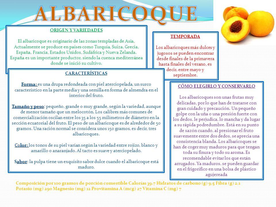 ORIGEN Y VARIEDADES El albaricoque es originario de las zonas templadas de Asia, Actualmente se produce en países como Turquía, Suiza, Grecia, España,