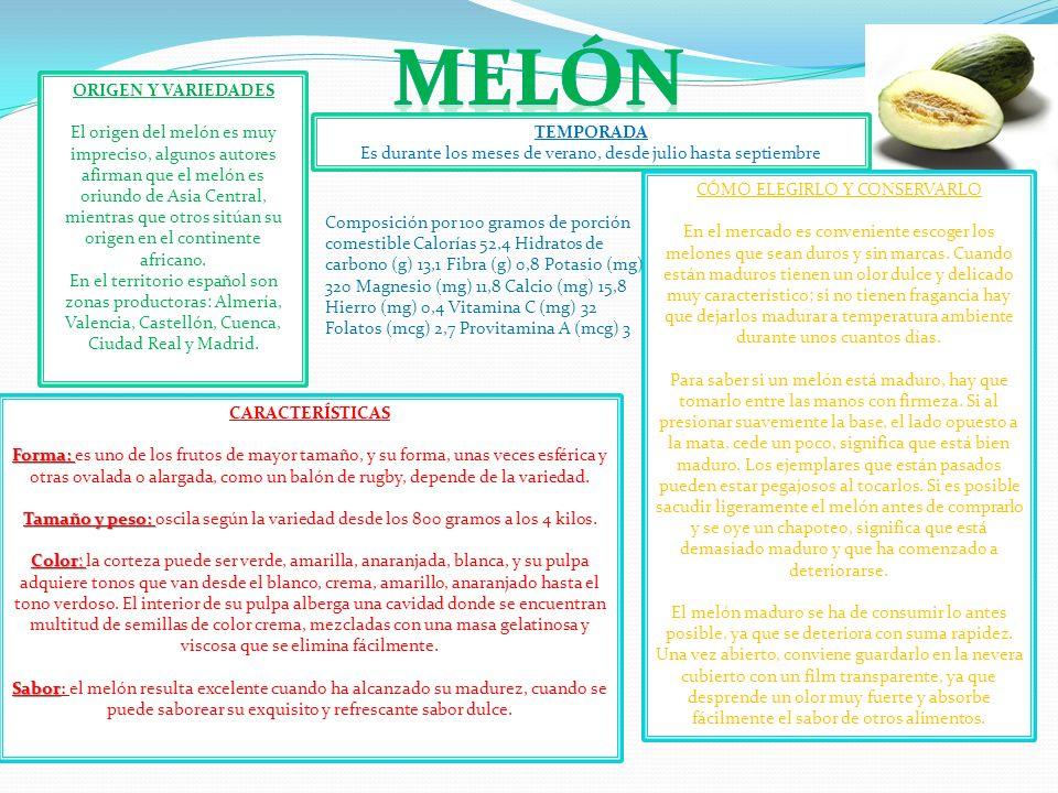 ORIGEN Y VARIEDADES El origen del melón es muy impreciso, algunos autores afirman que el melón es oriundo de Asia Central, mientras que otros sitúan s