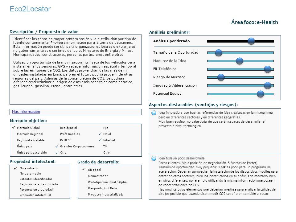 Eco2Locator Identificar las zonas de mayor contaminación y la distribución por tipo de fuente contaminante. Proveera información para la toma de decis