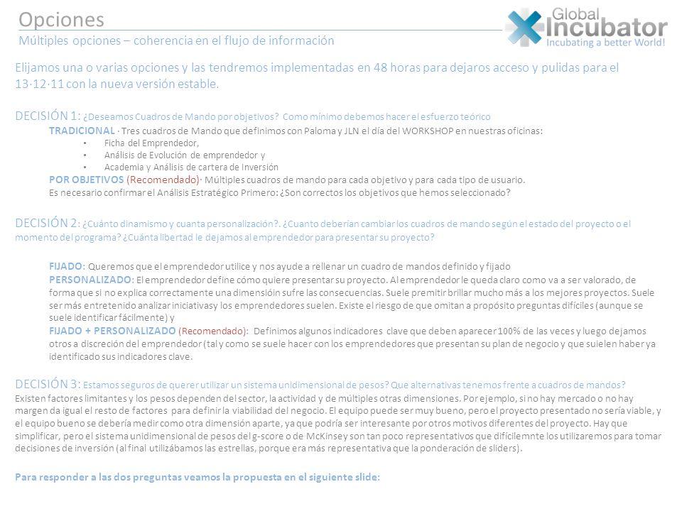 Opciones Múltiples opciones – coherencia en el flujo de información Elijamos una o varias opciones y las tendremos implementadas en 48 horas para deja