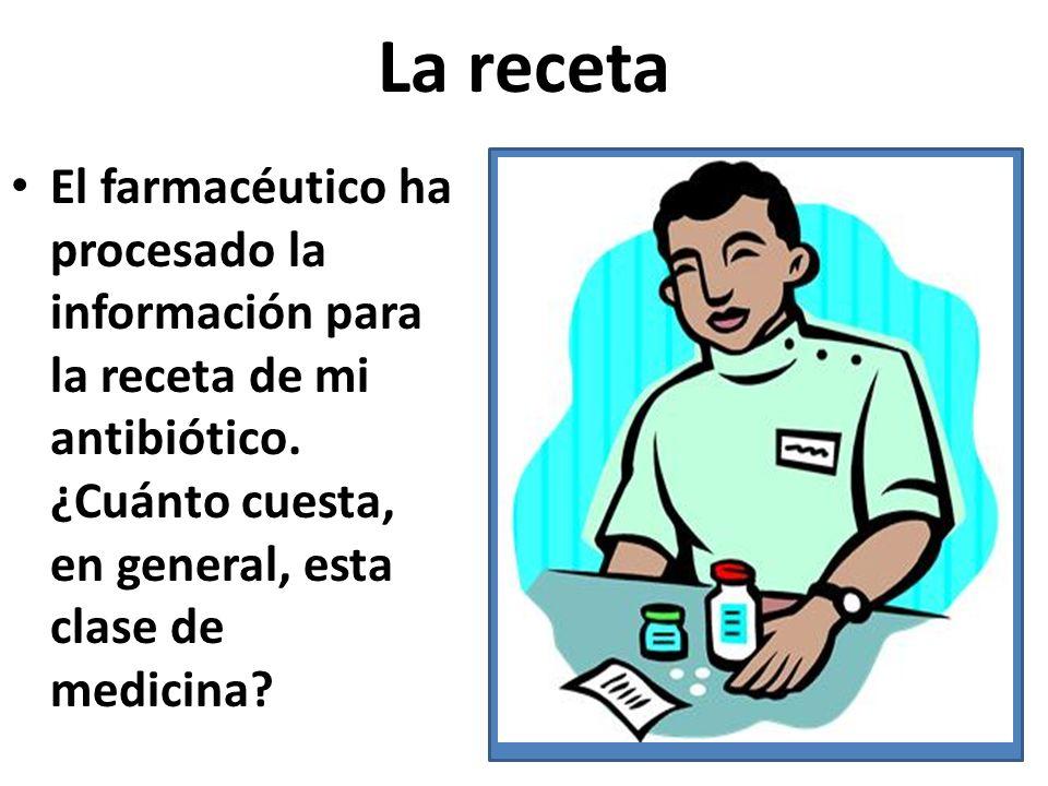 La receta El farmacéutico ha procesado la información para la receta de mi antibiótico. ¿Cuánto cuesta, en general, esta clase de medicina?