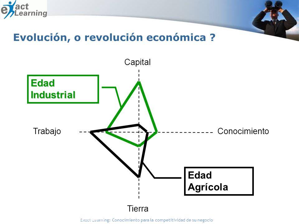 Exact Learning: Conocimiento para la competitividad de su negocio Capital ConocimientoTrabajo Tierra Edad Industrial Edad Agrícola Fuente: Gorey y Dorat (1996) y Bueno (1999) Evolución, o revolución económica ?