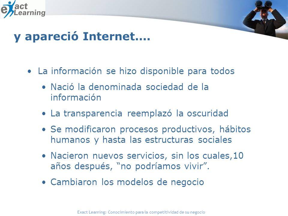 Exact Learning: Conocimiento para la competitividad de su negocio y apareció Internet.... La información se hizo disponible para todos Nació la denomi