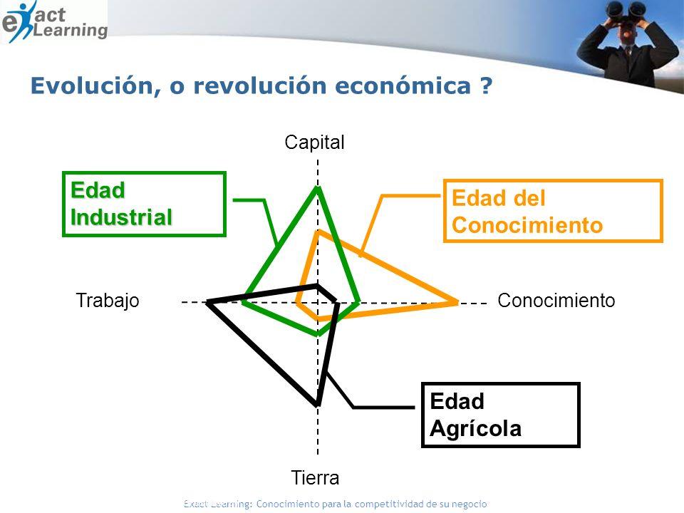 Exact Learning: Conocimiento para la competitividad de su negocio Capital ConocimientoTrabajo Tierra Edad del Conocimiento Edad Industrial Edad Agrícola Fuente: Gorey y Dorat (1996) y Bueno (1999) Evolución, o revolución económica ?