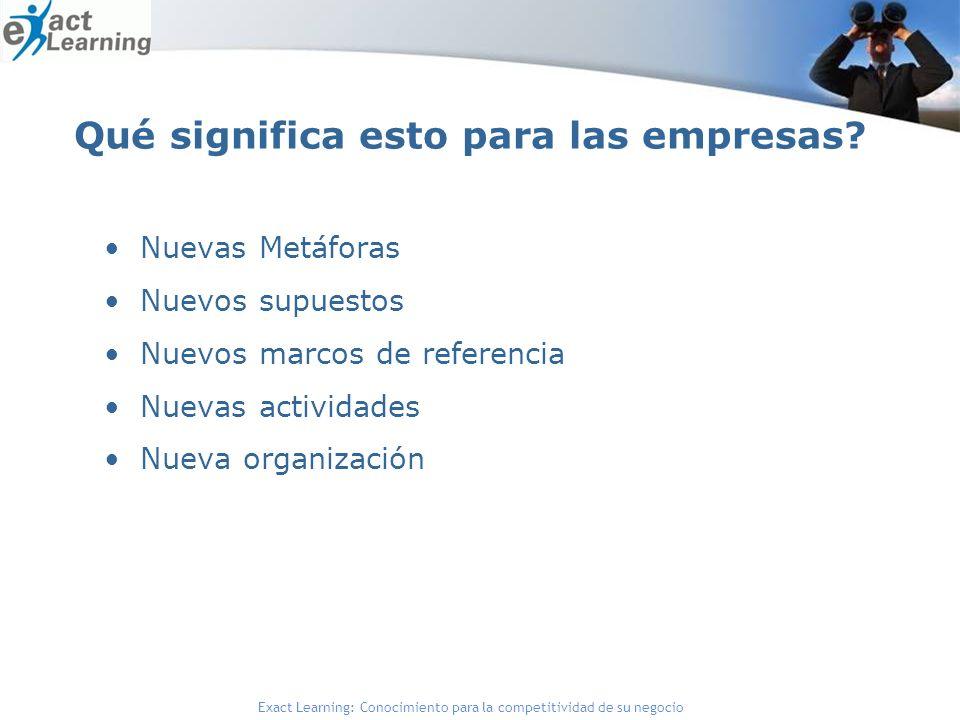 Exact Learning: Conocimiento para la competitividad de su negocio Qué significa esto para las empresas? Nuevas Metáforas Nuevos supuestos Nuevos marco