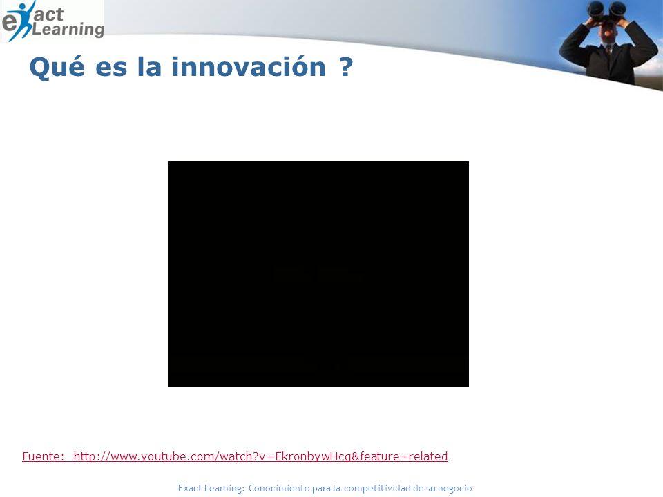 Exact Learning: Conocimiento para la competitividad de su negocio Qué es la innovación ? Fuente: http://www.youtube.com/watch?v=EkronbywHcg&feature=re