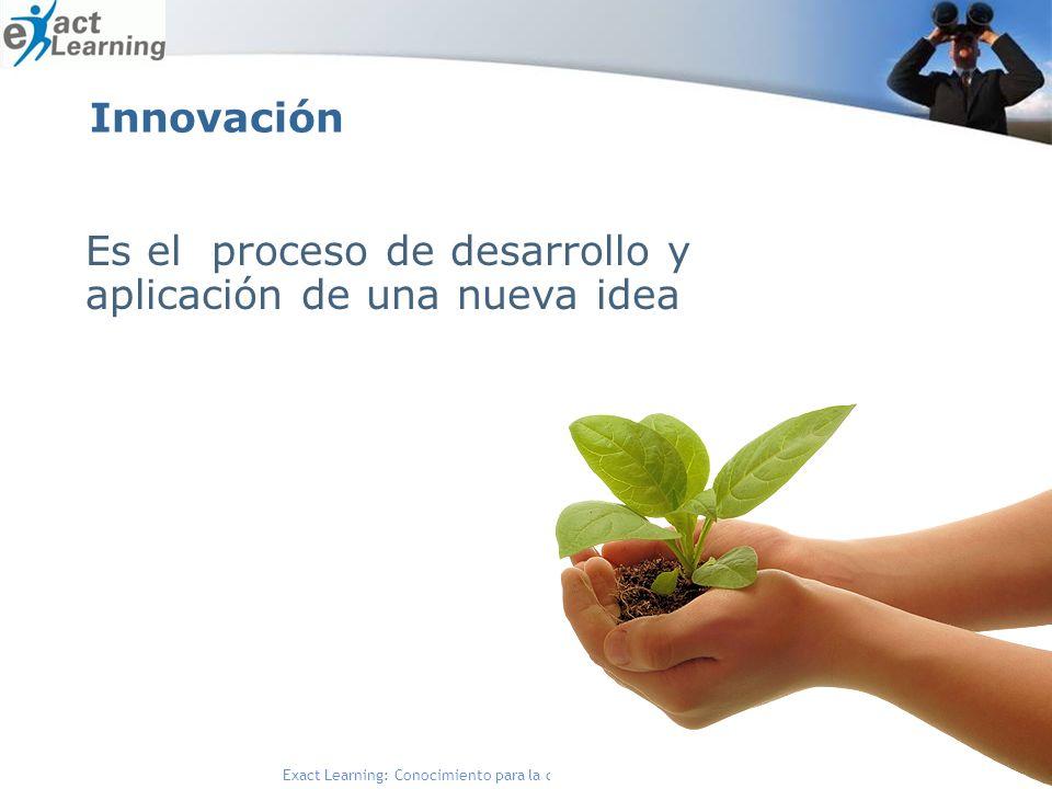Exact Learning: Conocimiento para la competitividad de su negocio Innovación Es el proceso de desarrollo y aplicación de una nueva idea