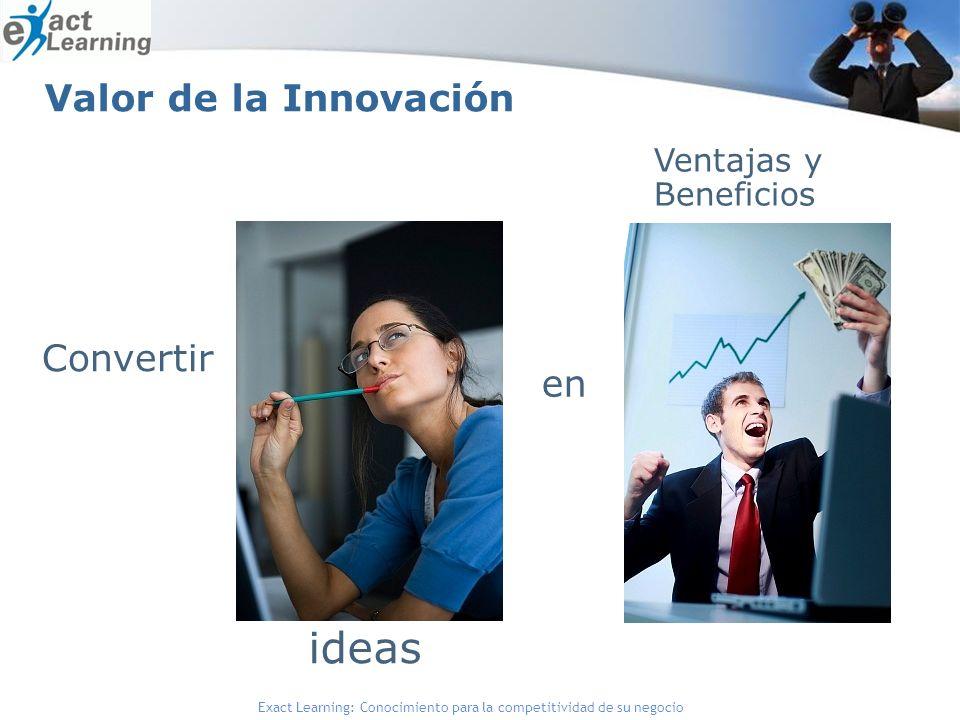 Exact Learning: Conocimiento para la competitividad de su negocio Valor de la Innovación Convertir ideas Ventajas y Beneficios en
