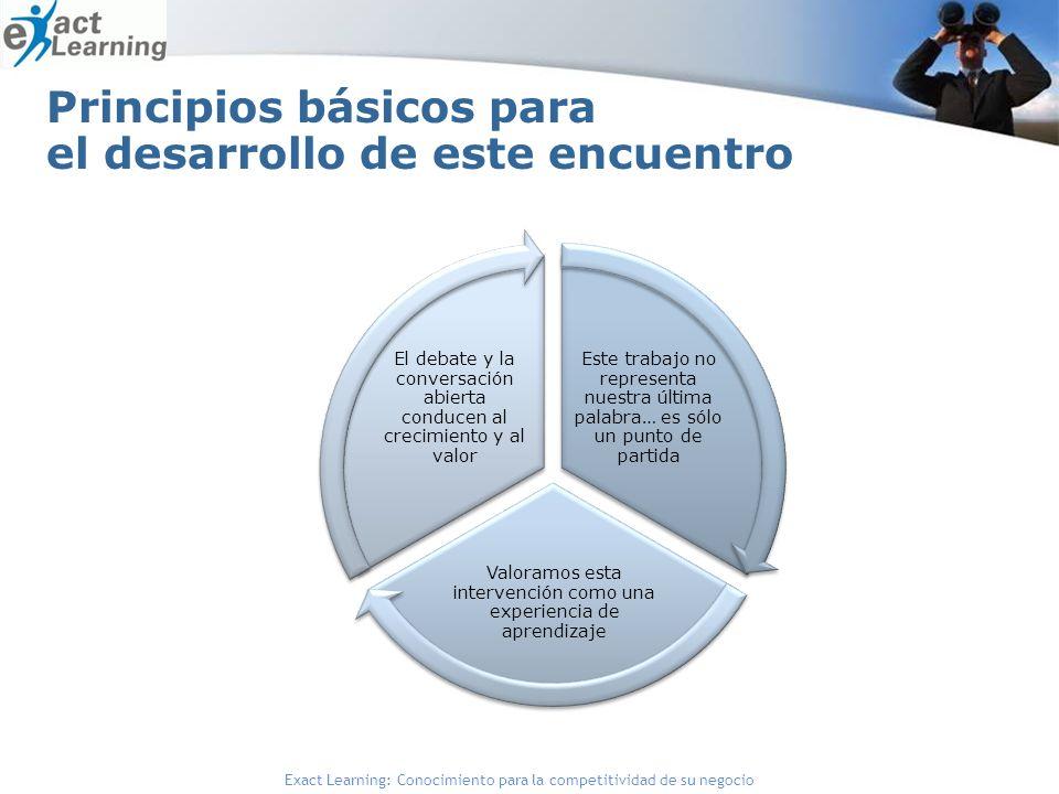 Exact Learning: Conocimiento para la competitividad de su negocio Principios básicos para el desarrollo de este encuentro Este trabajo no representa n