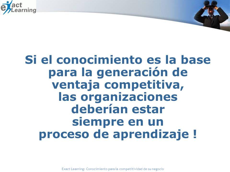Exact Learning: Conocimiento para la competitividad de su negocio Si el conocimiento es la base para la generación de ventaja competitiva, las organizaciones deberían estar siempre en un proceso de aprendizaje !