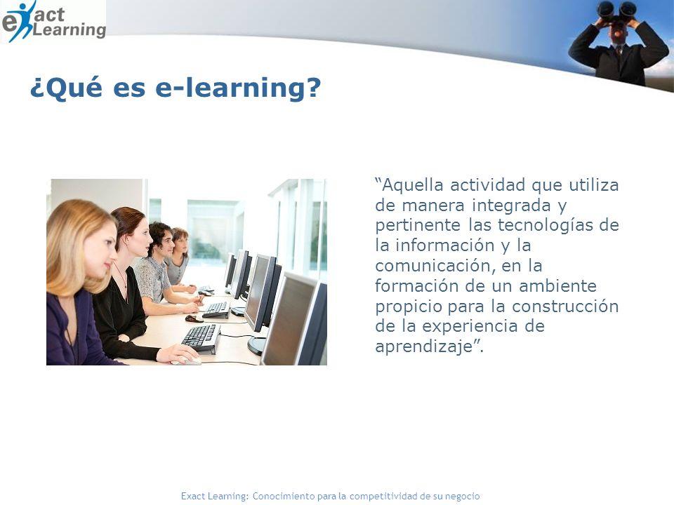 Exact Learning: Conocimiento para la competitividad de su negocio Aquella actividad que utiliza de manera integrada y pertinente las tecnologías de la información y la comunicación, en la formación de un ambiente propicio para la construcción de la experiencia de aprendizaje.