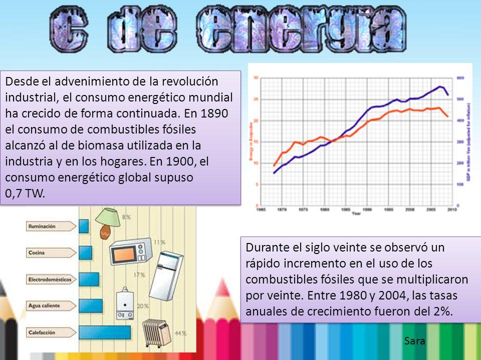 Desde el advenimiento de la revolución industrial, el consumo energético mundial ha crecido de forma continuada. En 1890 el consumo de combustibles fó
