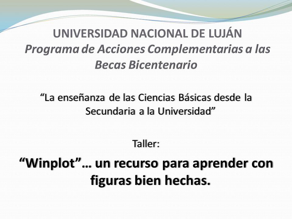 La enseñanza de las Ciencias Básicas desde la Secundaria a la Universidad Taller: Winplot… un recurso para aprender con figuras bien hechas.