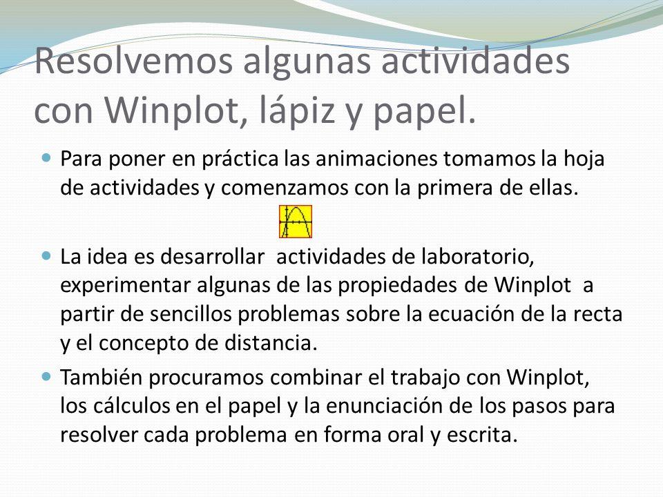 Resolvemos algunas actividades con Winplot, lápiz y papel. Para poner en práctica las animaciones tomamos la hoja de actividades y comenzamos con la p