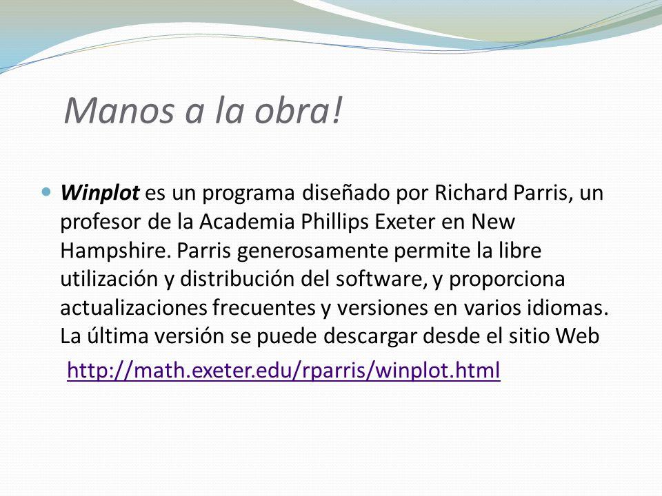 Manos a la obra! Winplot es un programa diseñado por Richard Parris, un profesor de la Academia Phillips Exeter en New Hampshire. Parris generosamente