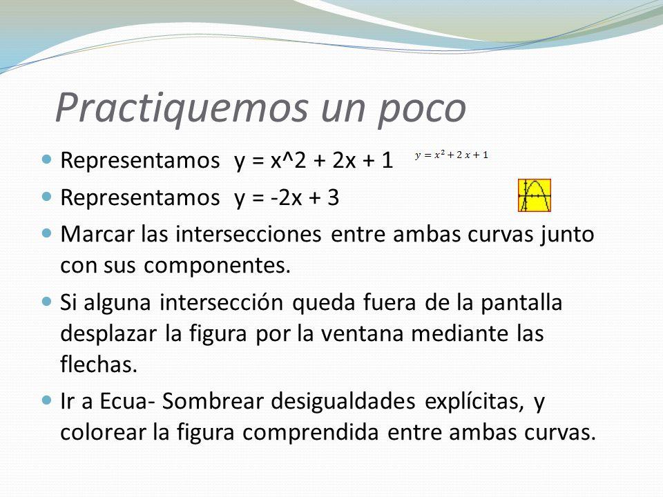 Practiquemos un poco Representamos y = x^2 + 2x + 1 Representamos y = -2x + 3 Marcar las intersecciones entre ambas curvas junto con sus componentes.