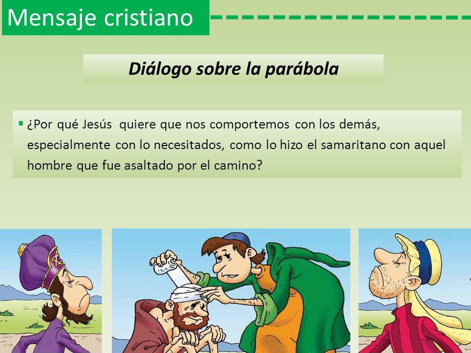 Mensaje cristiano Diálogo sobre la parábola Es frecuente que, en situaciones parecidas a la que le sucedió al samaritano, las personas actúen de forma