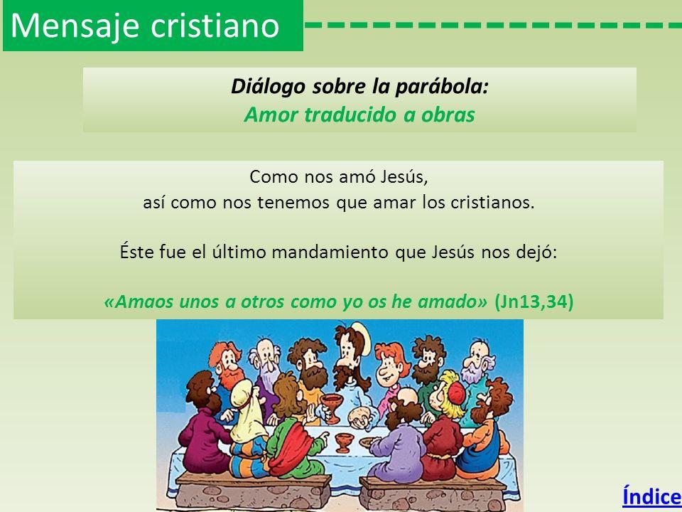 Mensaje cristiano Diálogo sobre la parábola: Amor traducido a obras No podemos reducir el amor solo a palabras, como tantas veces hacemos: «¡Cuánto te