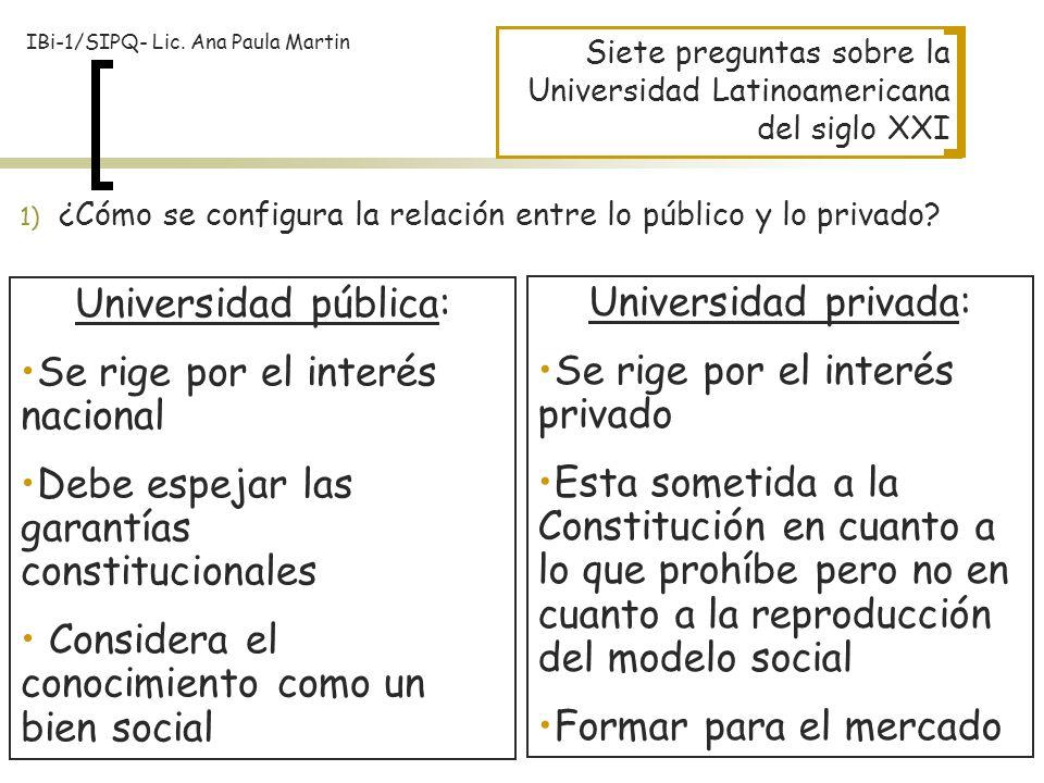 Siete preguntas sobre la Universidad Latinoamericana del siglo XXI 1) ¿Cómo se configura la relación entre lo público y lo privado? Universidad públic