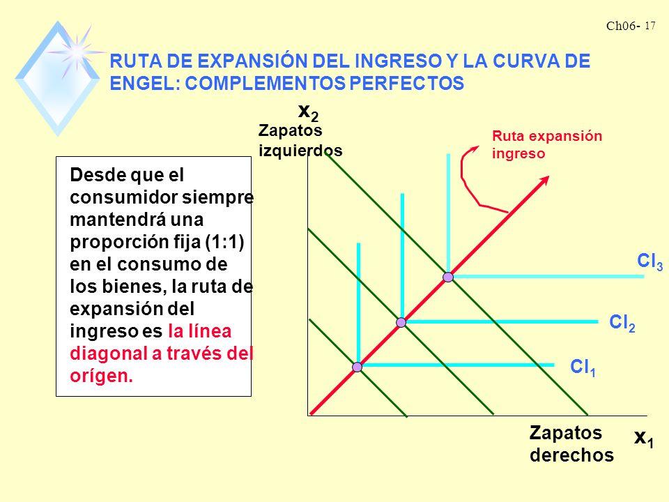 Ch06- 16 Desde que el consumidor se especializa en el consumo del bien 2, la demanda es: x 1 = 0 x 2 = m/p 2 Desde que x 1 = 0 independientemente del