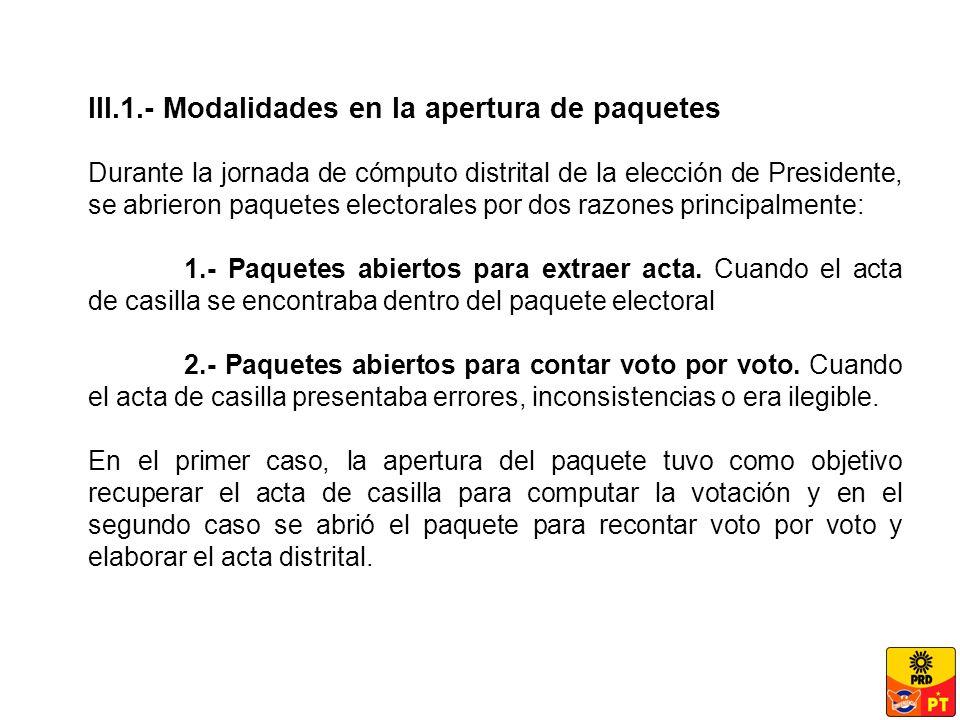 III.1.- Modalidades en la apertura de paquetes Durante la jornada de cómputo distrital de la elección de Presidente, se abrieron paquetes electorales por dos razones principalmente: 1.- Paquetes abiertos para extraer acta.