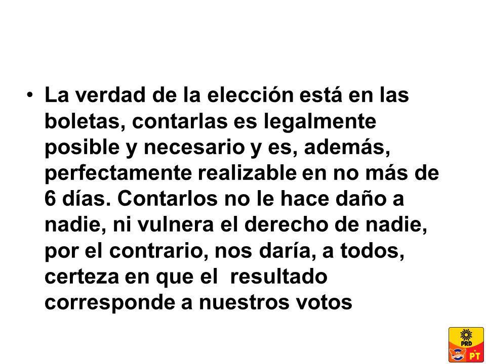 La verdad de la elección está en las boletas, contarlas es legalmente posible y necesario y es, además, perfectamente realizable en no más de 6 días.