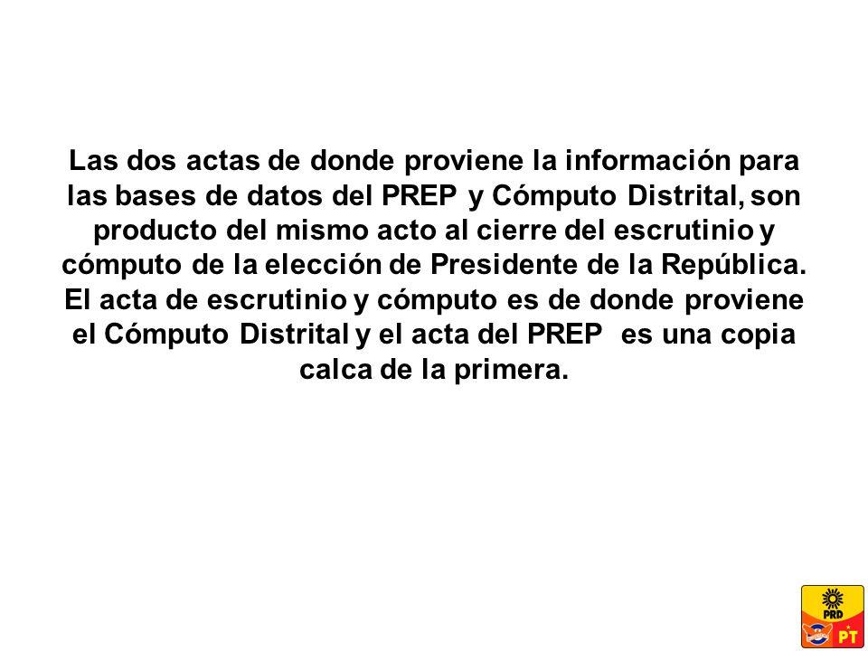 Las dos actas de donde proviene la información para las bases de datos del PREP y Cómputo Distrital, son producto del mismo acto al cierre del escrutinio y cómputo de la elección de Presidente de la República.