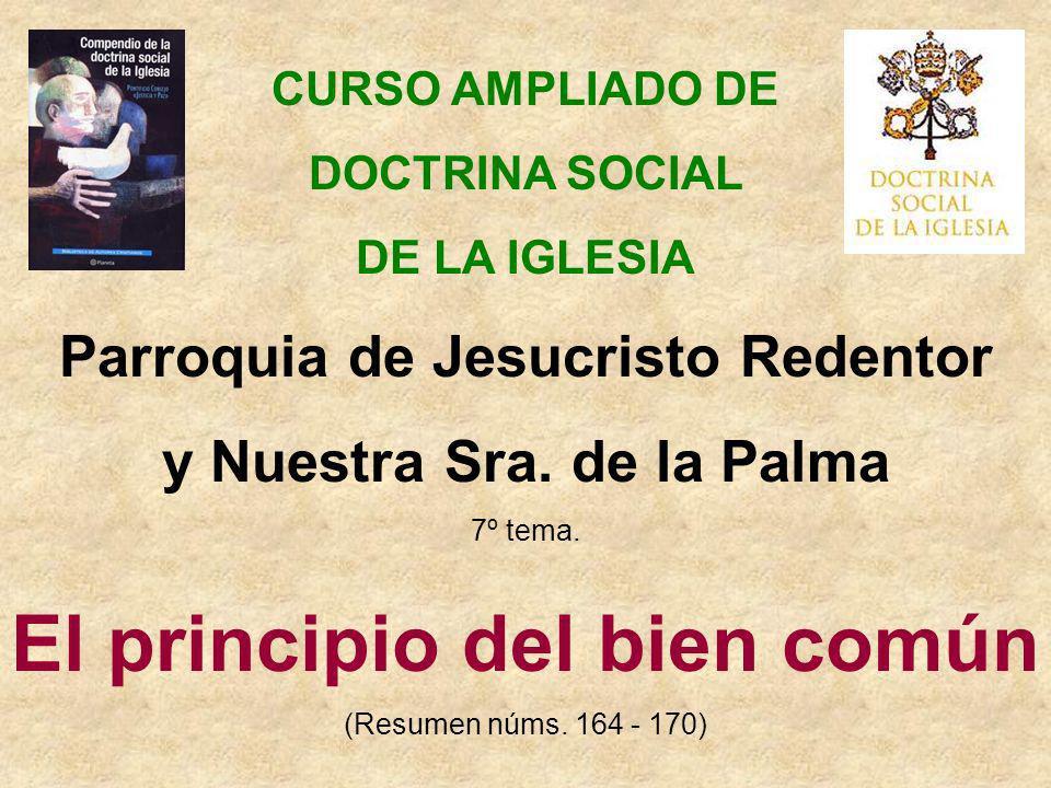 CURSO AMPLIADO DE DOCTRINA SOCIAL DE LA IGLESIA Parroquia de Jesucristo Redentor y Nuestra Sra. de la Palma 7º tema. El principio del bien común (Resu