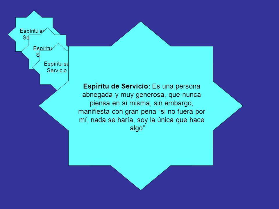 Espíritu se Servicio Espíritu de Servicio: Es una persona abnegada y muy generosa, que nunca piensa en sí misma, sin embargo, manifiesta con gran pena