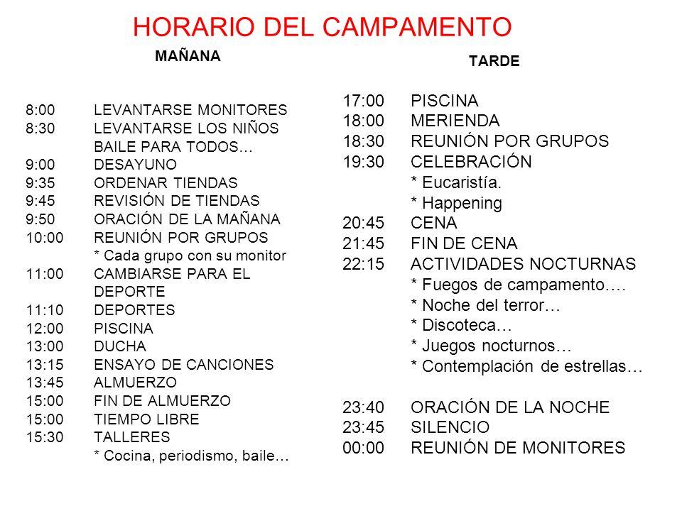 HORARIO DEL CAMPAMENTO MAÑANA 8:00LEVANTARSE MONITORES 8:30LEVANTARSE LOS NIÑOS BAILE PARA TODOS… 9:00DESAYUNO 9:35ORDENAR TIENDAS 9:45REVISIÓN DE TIE