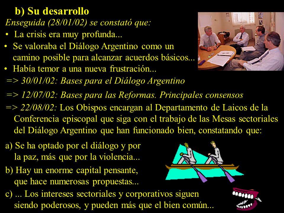 b) Su desarrollo Enseguida (28/01/02) se constató que: La crisis era muy profunda...