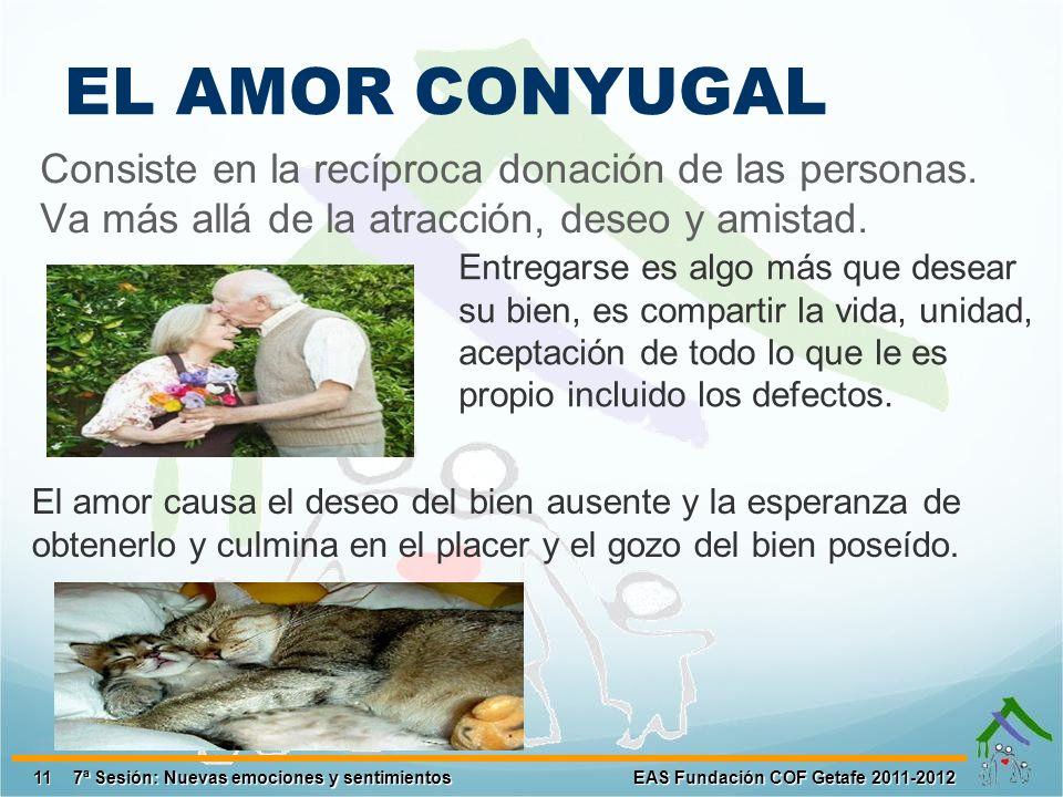 EL AMOR CONYUGAL Consiste en la recíproca donación de las personas.