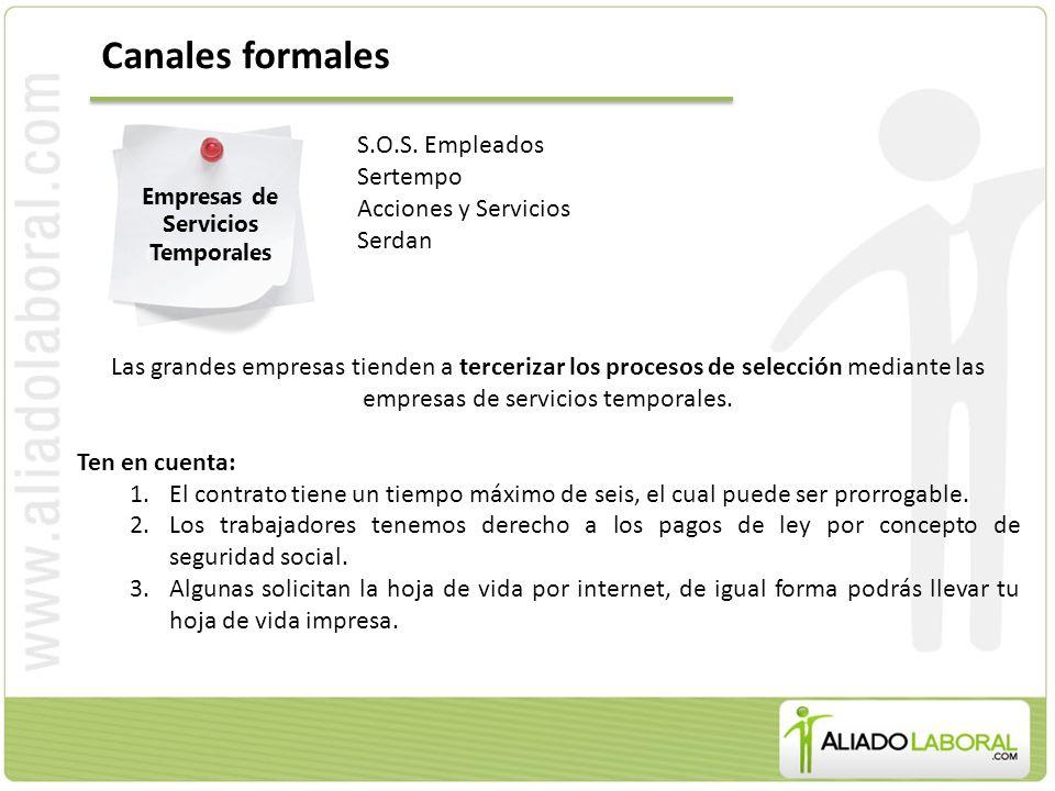 Canales formales Empresas de Servicios Temporales S.O.S.