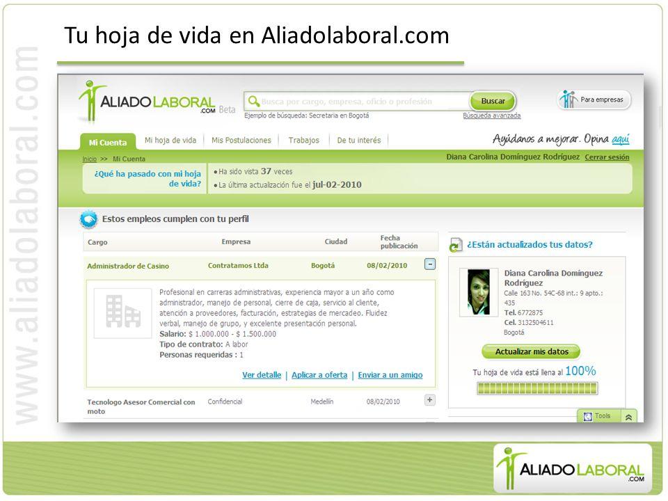 Tu hoja de vida en Aliadolaboral.com