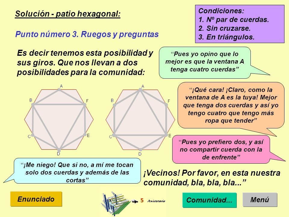Solución - patio hexagonal: Menú Enunciado Punto número 3.