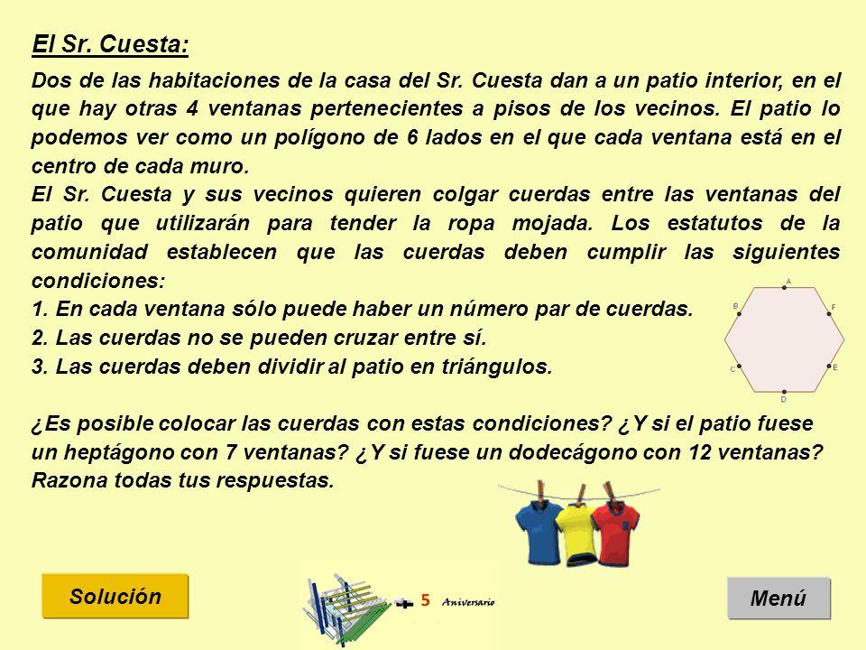 El Sr. Cuesta: Solución Menú Dos de las habitaciones de la casa del Sr.