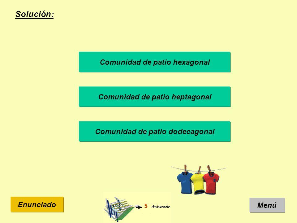 Solución: Menú Enunciado Comunidad de patio hexagonal Comunidad de patio heptagonal Comunidad de patio dodecagonal