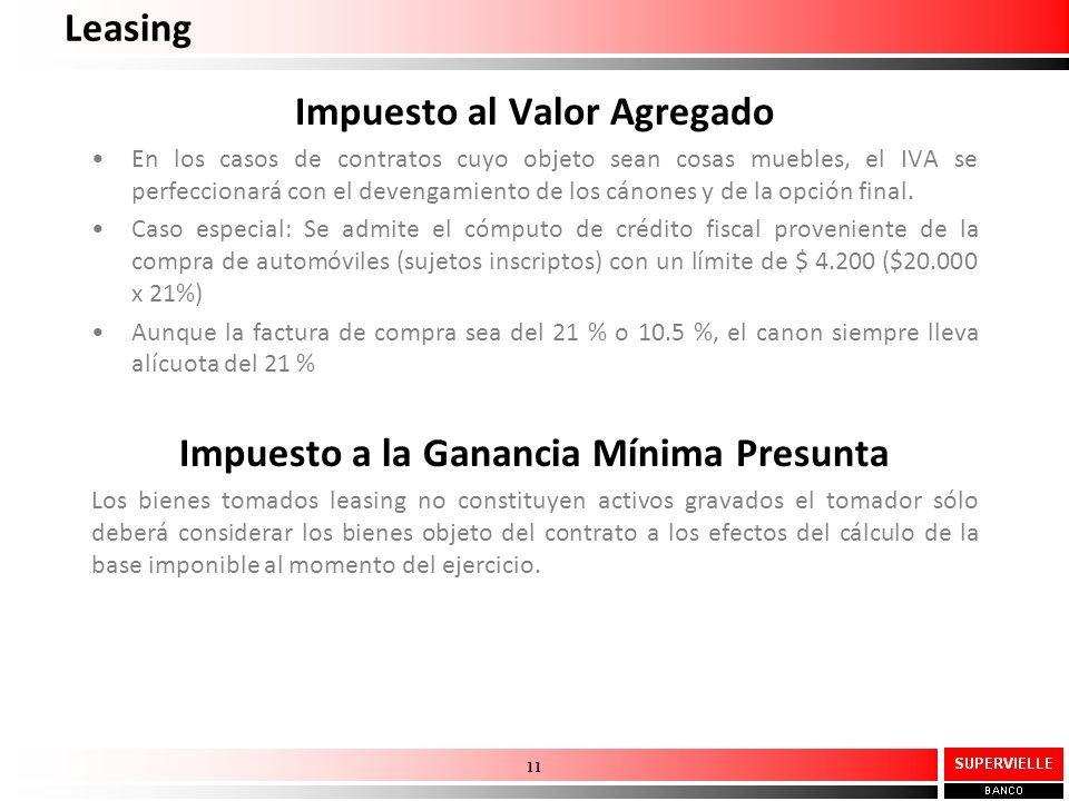 Leasing Impuesto al Valor Agregado En los casos de contratos cuyo objeto sean cosas muebles, el IVA se perfeccionará con el devengamiento de los cánon