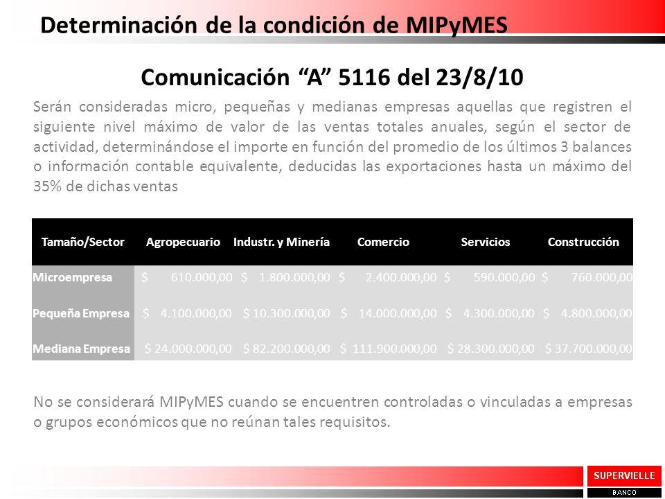 Comunicación A 5116 del 23/8/10 Serán consideradas micro, pequeñas y medianas empresas aquellas que registren el siguiente nivel máximo de valor de la