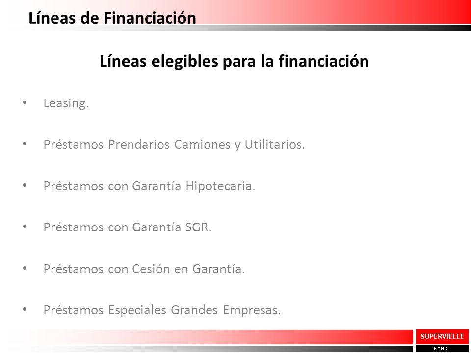 Líneas elegibles para la financiación Leasing. Préstamos Prendarios Camiones y Utilitarios. Préstamos con Garantía Hipotecaria. Préstamos con Garantía