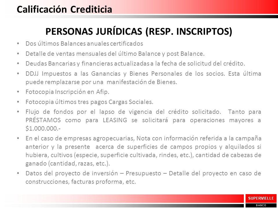 Calificación Crediticia PERSONAS JURÍDICAS (RESP. INSCRIPTOS) Dos últimos Balances anuales certificados Detalle de ventas mensuales del último Balance
