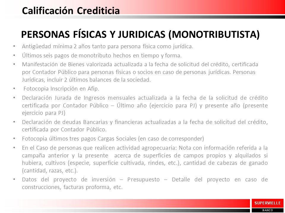 Calificación Crediticia PERSONAS FÍSICAS Y JURIDICAS (MONOTRIBUTISTA) Antigüedad mínima 2 años tanto para persona física como jurídica. Últimos seis p