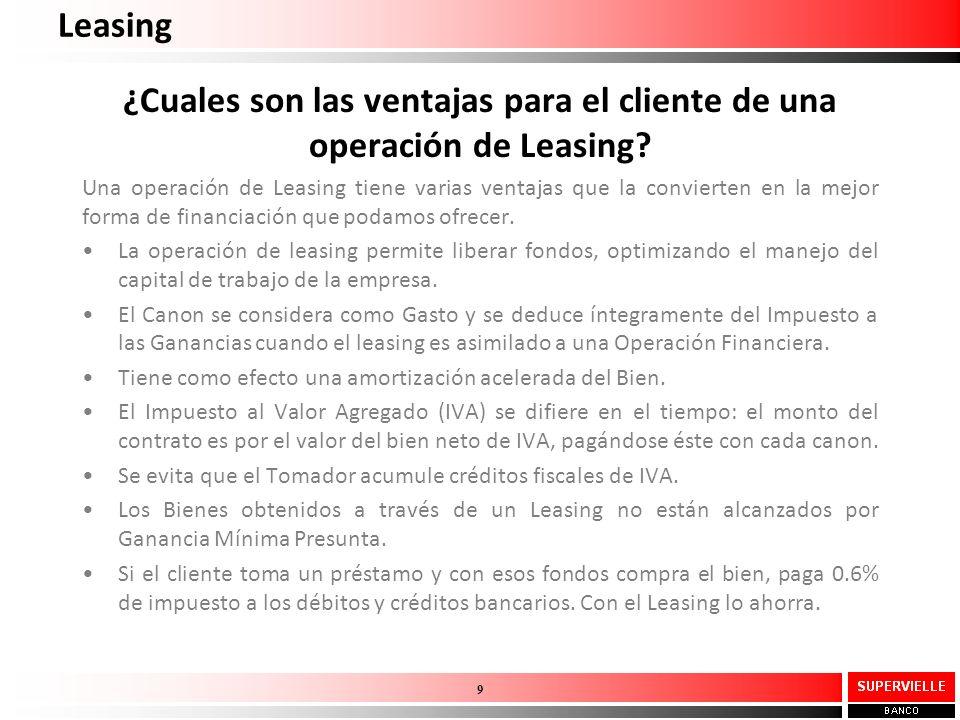 ¿Cuales son las ventajas para el cliente de una operación de Leasing? Una operación de Leasing tiene varias ventajas que la convierten en la mejor for