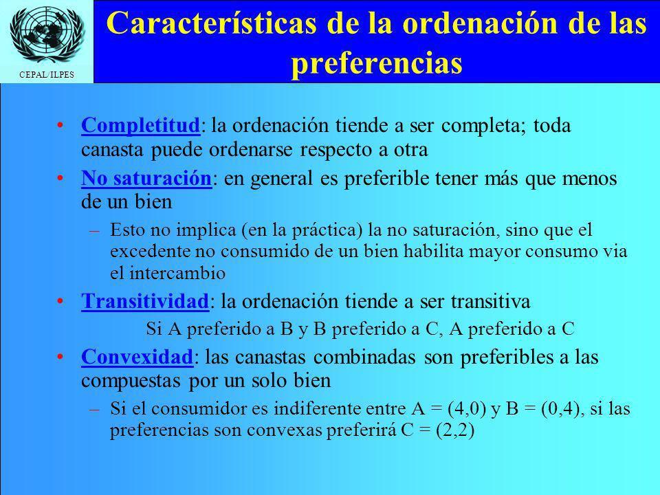 CEPAL/ILPES Características de la ordenación de las preferencias Completitud: la ordenación tiende a ser completa; toda canasta puede ordenarse respecto a otra No saturación: en general es preferible tener más que menos de un bien –Esto no implica (en la práctica) la no saturación, sino que el excedente no consumido de un bien habilita mayor consumo via el intercambio Transitividad: la ordenación tiende a ser transitiva Si A preferido a B y B preferido a C, A preferido a C Convexidad: las canastas combinadas son preferibles a las compuestas por un solo bien –Si el consumidor es indiferente entre A = (4,0) y B = (0,4), si las preferencias son convexas preferirá C = (2,2)