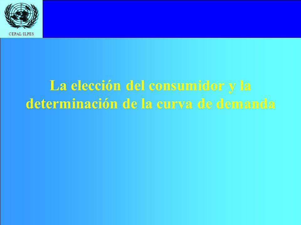 CEPAL/ILPES La elección del consumidor y la determinación de la curva de demanda